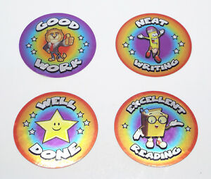 WELL DONE 50 School Teacher Reward Stickers 40mm Shiny Foil Metallic