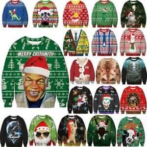 Унисекс рождественские свитеры Ugly смешной уродливых женский мужчин рождественский джемпер толстовка топы