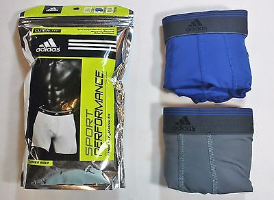 New Men adidas Sport Performance (Gray / Blue) Boxer Brief (2- Pack) Underwear
