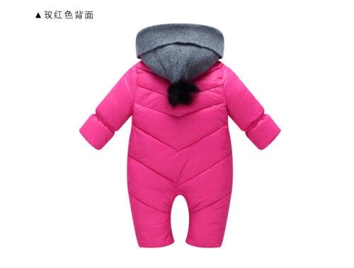 Newborn Baby Girls Boys Romper Winter Warm Hooded Jumpsuit Clothes Outfits