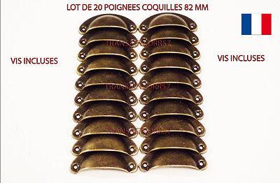 10x POIGNEE COQUILLE  82mm 20 vis FER POUR TIROIR MEUBLE DECORATION METIER