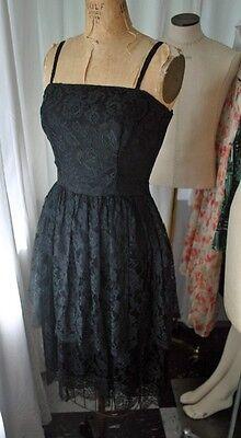 Small Bust 34 Party Dress Waist 28-29 60s Black Lace Cocktail Dress Vintage VTG S