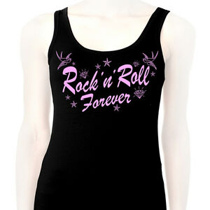 debardeur tank top femme rock 39 n 39 roll forever style tattoo old school swallow ebay. Black Bedroom Furniture Sets. Home Design Ideas