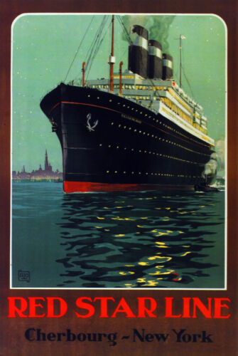 Fine Graphic Art Design red Star Line Cherbourg New York Decor Poster 2943