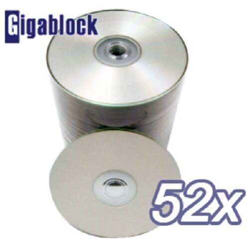 500 pcs Lot CD-R 52x Silver Inkjet Full Face Hub Printable CD Blank Media