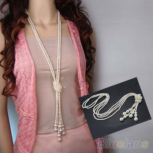 WHITE ARTIFICIAL PEARLS CHAIN SWEET LONG CHAIN NOVELTY NECKLACE MATCH DRESS