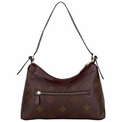 New Women/'s Brown Vinyl Small Handbag with Print
