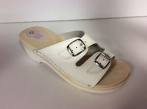 Women-039-s-Shoes-Slippers-Hoof-330-White-Bands-Adjustable-Wood-Made-IN-Italy