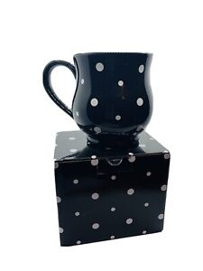 Temptations By Tara Black Polka Dot 16 oz Mug Cup Stoneware Ovenware w/ Gift Box