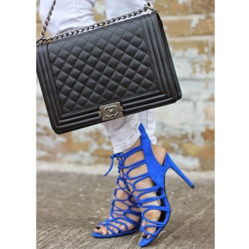 ZARA COBALT BLUE HIGH HEEL STRAPPY SANDALS UK SIZE:3,4,5,7 EU: 36,37,38