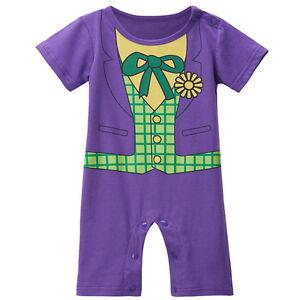 afc91361f3e4 Image is loading Baby-Boy-Joker-Costume-Romper-Infant-Jumpsuit-Newborn-