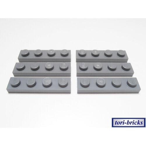 Lego Platte Bauplatte Plättchen 1x4 dunkel grau 6 Stück »NEU« # 3710