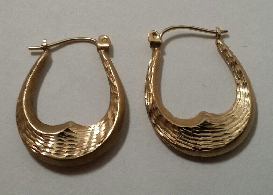 Fancy long Hoop Earrings 10K gold