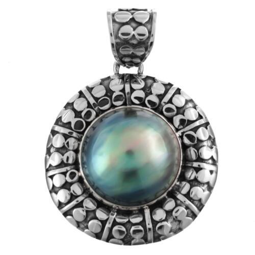 "1 7//16/"" Genuine Blue Mabe Perle 925 Pendentif En Argent Sterling"