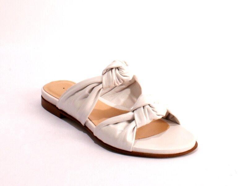 Gibellieri 2046a Pearl Pelle Slides Sandals Flats 37.5 / US 7.5