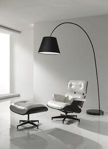 Dettagli su Lampada Ad Arco SMARTY Da Terra Base Marmo Nero Bianco Stelo In  Metallo