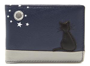 Chat porte-carte Portefeuille Par MALA Cuir Bleu RFID Femmes crédit photo d/'identité Mini