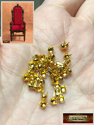 M01525-Gold MOREZMORE 50 Studs 4mm Spikes Round Dome Tacks Miniature
