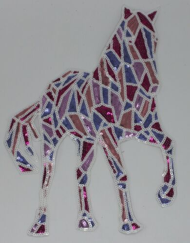 Stained Glass Horse Sequin Patch