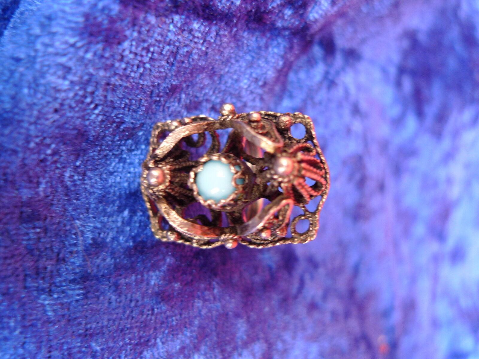 Belle, Ancienne Anneau __ silver Décoré__ avec blue Clair Pierre ( Perle )_