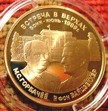 RUSSIA 1989 GOLD MEDAL USSR GERMANY BONN GORBACHEV VAIZENSKER RUSSIAN COIN L@@K