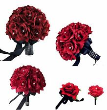 15pc wedding package:Apple Red Silk roses Bouquet,Boutonniere Corsages
