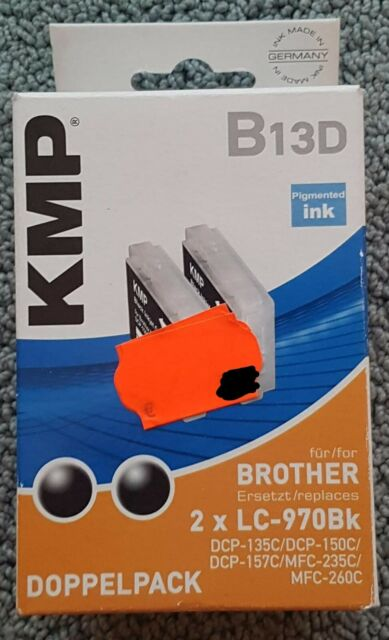 KMP Tintenpatronen BROTHER LC970BK, Doppelpack B13D, Schwarz/Schwarz,Art.-Nr.