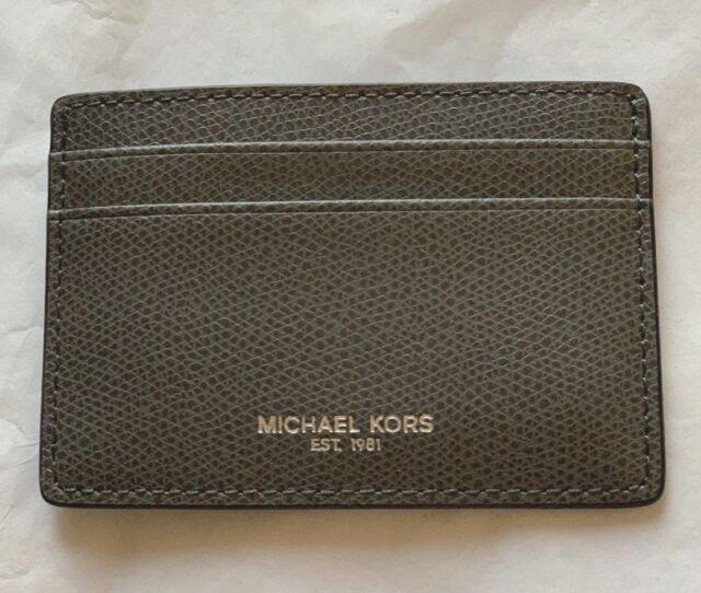 462252e5e662 Michael Kors MENS WARREN ATM CREDIT CARD CASE GREY with Money Clip BNWT