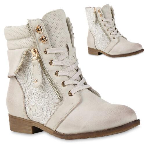892840 Modische Damen Stiefeletten Worker Boots Zipper Schnürstiefel Schuhe