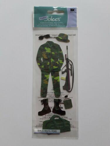 EK SUCCESS JOLEE/'S BOUTIQUE ARMY SLIM PACK DIMENSIONAL STICKERS BNIP