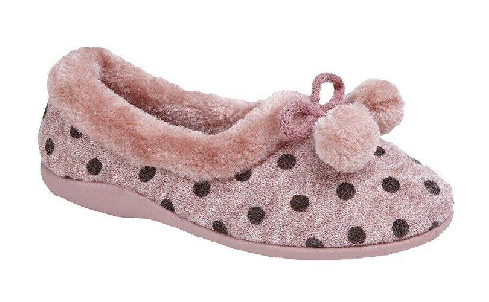 Sleepers Marge Pom-Pon Gepunktet Manschette Hausschuh Pink Gestrickt Textil