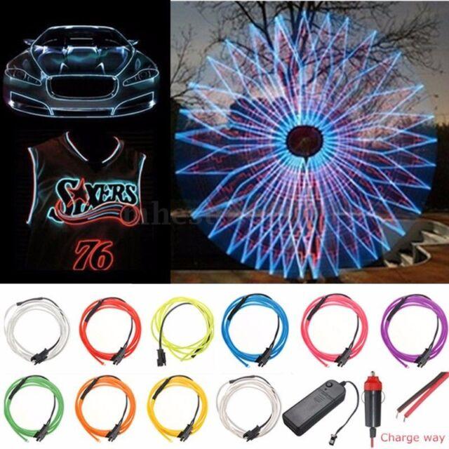 1/3/5M LED Flexible EL Wire Neon Glow String Strip Rope Light Dance Party Decor