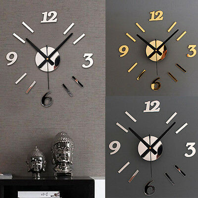 DIY Wall Clock 3D Mirror Surface Sticker Home Office Decor Clock Gayly