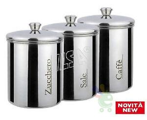Set 3 barattoli contenitori in acciaio inox da cucina sale ...