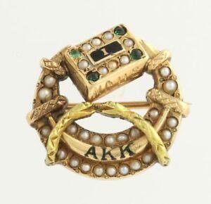 Alpha-Kappa-Vintage-Confraternita-Distintivo-Spilla-18k-Oro-Giallo-Medico