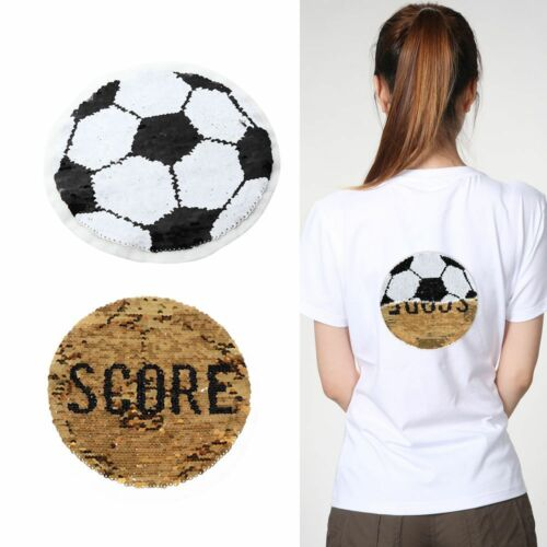 Soccer Football Reversible Sequins Sew On Patches Dresses Crafts Embroidered BN
