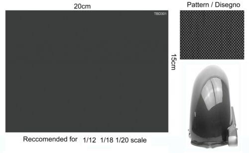 TBD301 Square Pattern F1 Ducati Honda 1//20 1//12 1//18 Carbon Fibre Decals