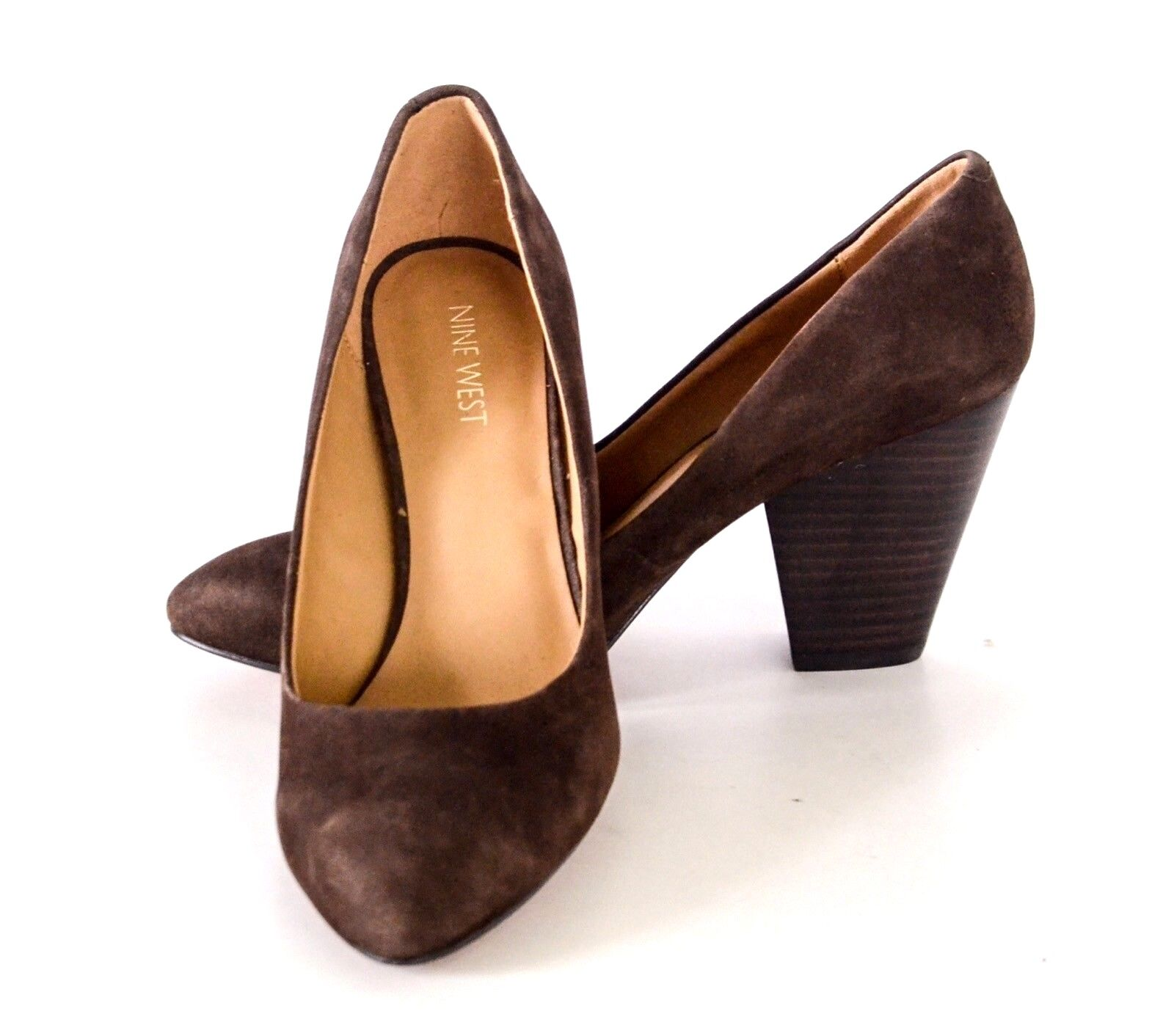 6682d769ba845 Nine Women's Drummer Brown Dress Pumps 7.5M Suede West ntkris2776 ...