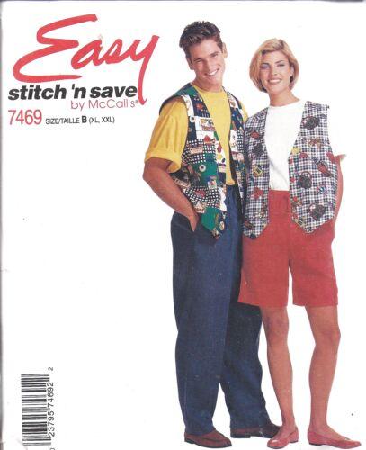 7469 UNCUT Vintage McCalls SEWING Pattern Vest T Shirt Pants Shorts Men Misses