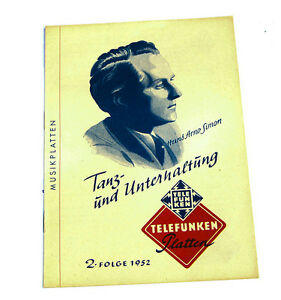 Kaufe Jetzt k113 Nett Telefunken Musikplatten Katalog Tanz Und Unterhaltung 2.folge 1952