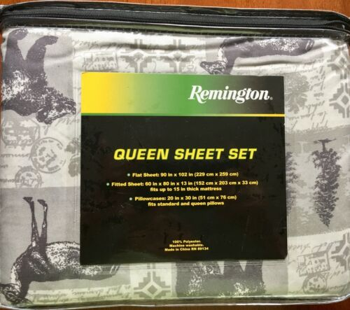 Remington Outdoors Bear Stag Tree Gray-Tan Sheet Set NWT Queen or King Lodge
