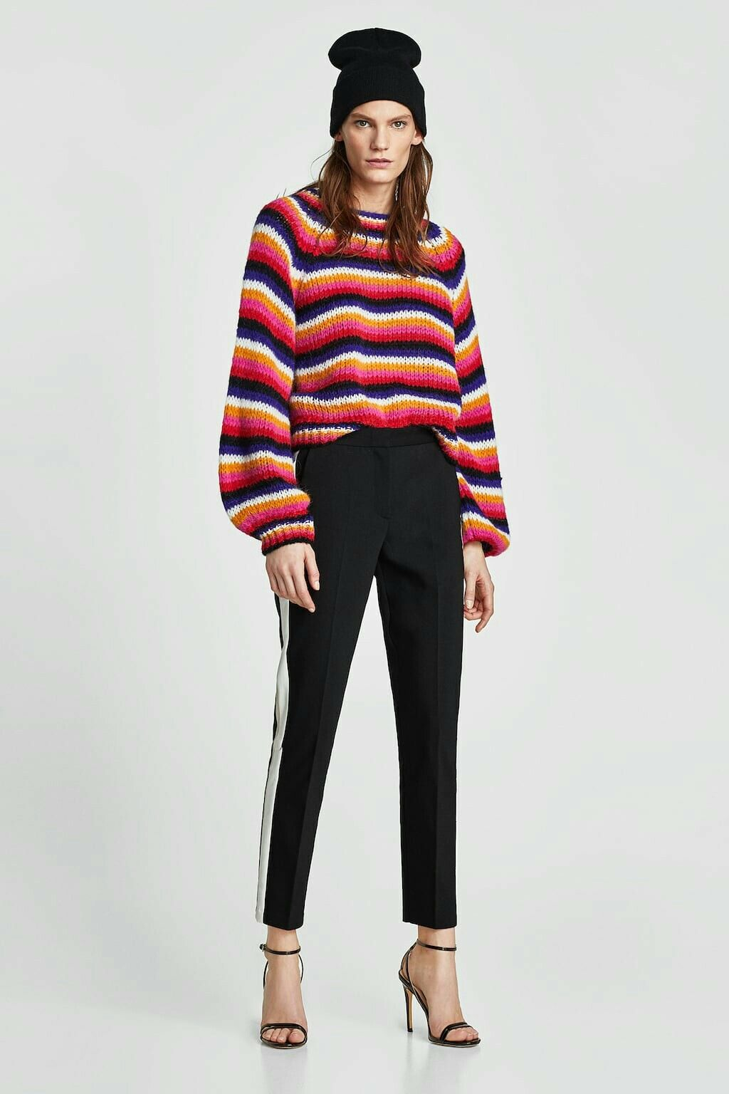 Zara multi colour striped wool blend jumper with puff sleeves size M