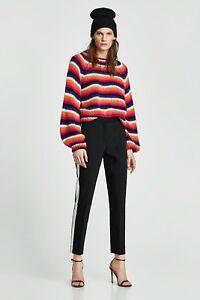 righe M Zara taglia a lana maniche multicolore a con misto Maglia in sbuffo Fq7YI