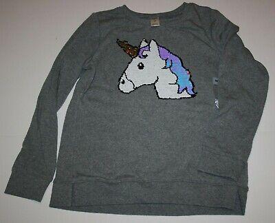 New OshKosh Girls 14 year Flip Sequin Unicorn Head Horn Gray Sweatshirt Top