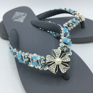 bfd2dd1e5 Image is loading Gray-Elegance-Hand-Decorated-Crystals-Flip-Flops-Sandals-
