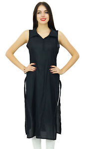 Bimba-Women-Casual-Long-Tunic-Collar-Neck-Black-Kurta-Plain-Black-Kurti