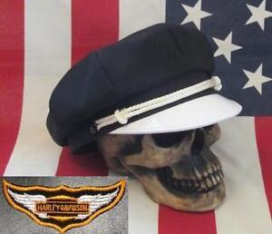126e4b7cf1c3b VINTAGE OLD SCHOOL STYLE BIKER ROAD CAPTAIN S HAT CAP - W  DIAMOND ...