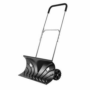 Snow-Shovel-Pusher-with-6-034-Wheels-Heavy-Duty-Adjustable-Height