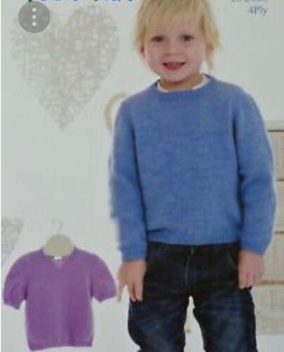 Tejer patrón para Clásico Children/'s Long /& Short Sleeve Jumper ~ C28