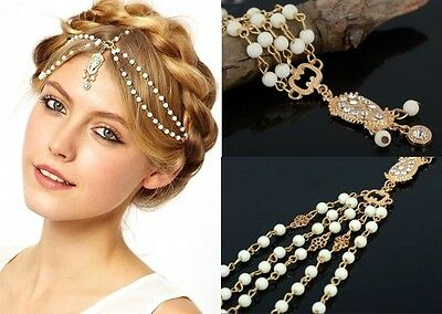 Women Fashion Metal Rhinestone Head Jewelry Headband Chain Headpiece Headwear